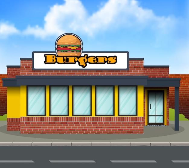Flache bauform burger-ladenfront