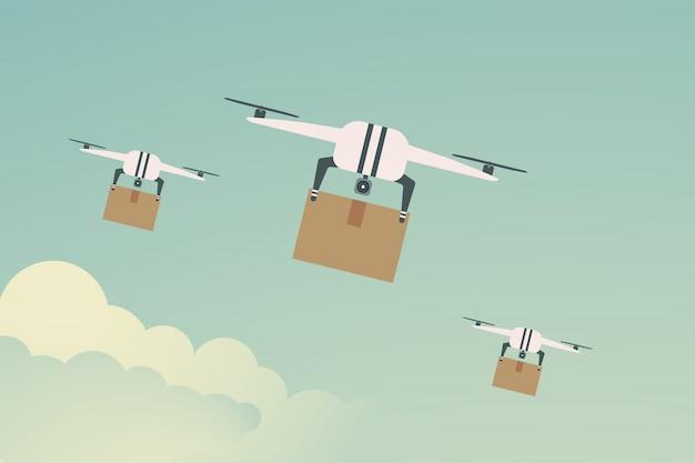 Flache bequemen transport. lieferung drohne mit dem paket. illustration