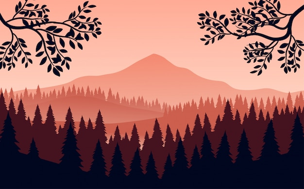 Flache berglandschaft mit wald