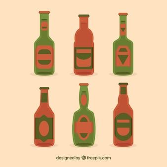 Flache bierflaschensammlung mit aufkleber