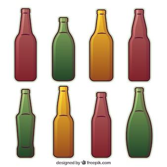 Flache bierflaschensammlung