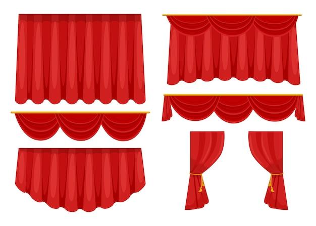 Flache bildersammlung der trendigen roten vorhänge