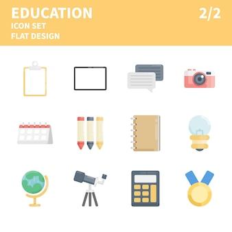 Flache bildung-icon-set. bildungsikonen in der flachen art. satz flache konzeptdesignikonen für netz, bewegliche anwendung, usw.