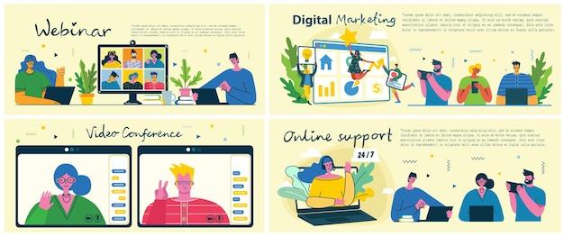 Flache bildung, schulung, online-tutorial, e-learning-konzept. vektor-icon-banner-vorlagen-set. web-abbildung. lehrer an der tafel, bücherhaufen, laptop-dokument. website-infografik-elemente.