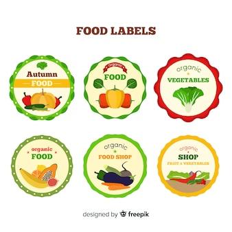 Flache bio-lebensmittel-labelsammlung