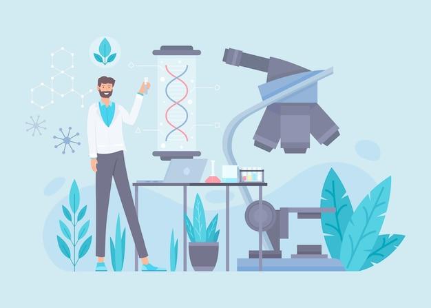 Flache biotechnologie-illustration