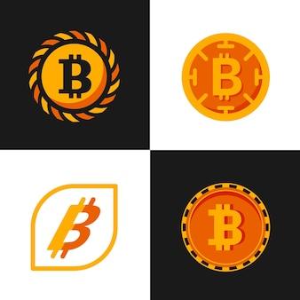 Flache bitcoin-logo-sammlung