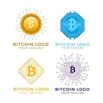 Flache bitcoin-logo-vorlagensammlung