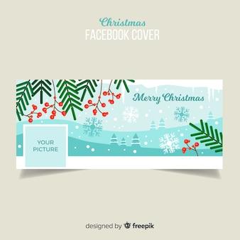 Flache blätter weihnachten facebook cover