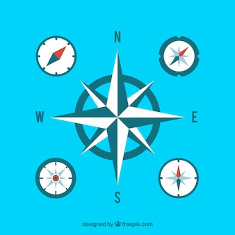 Flache blaue kompass-sammlung