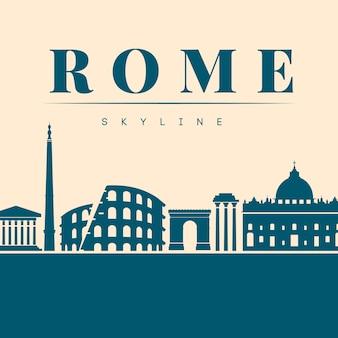 Flache blaue skyline von rom