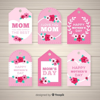 Flache blumenmuttertags-labelsammlung