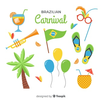 Flache brasilianische karneval elemente gesetzt