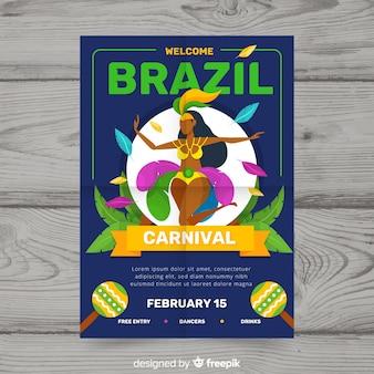 Flache brasilianische karneval flyer vorlage