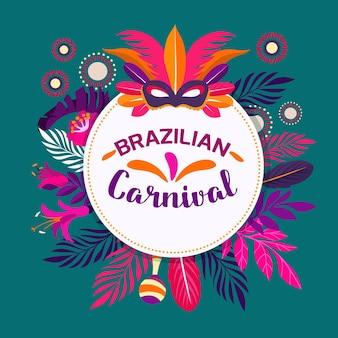 Flache brasilianische karnevalsfedern