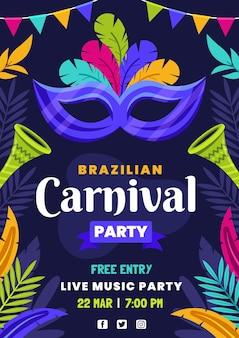 Flache brasilianische karnevalsfliegerschablone