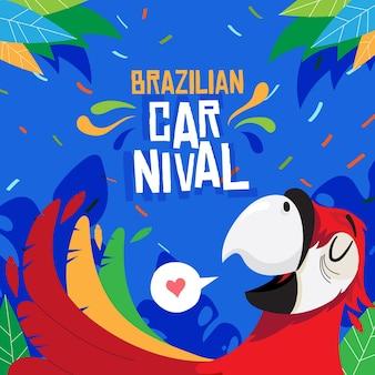 Flache brasilianische karnevalsillustration