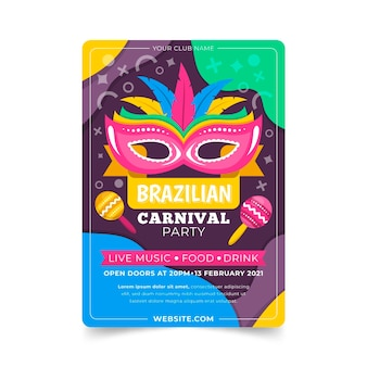 Flache brasilianische karnevalsplakatschablone