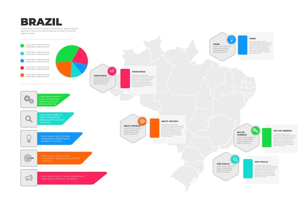 Flache brasilien karte infografik vorlage