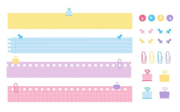 Flache briefpapiersets farbige papiernotizen mit farbig linierten horizontalen vorlagen, karierte linie oder punktblatt mit perforationsbüro oder schulelement-push-pin-büroklammer-vektorillustration
