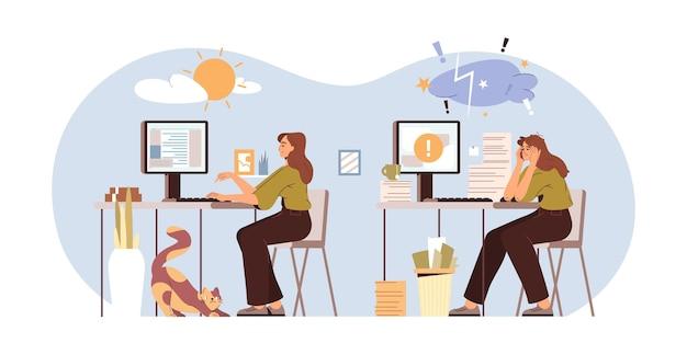 Flache bürofrau bei der arbeit mit hohem und niedrigem energieniveau