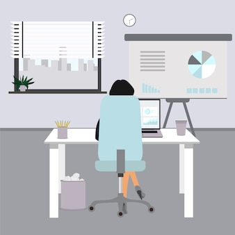 Flache bürokonzeptillustration. geschäftsfrau im büro. büroillustration mit stuhl, schreibtisch, computer, kaffeetasse, fenster. frau, die bei der arbeit im büro sitzt.