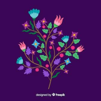 Flache bunte blumenniederlassung auf violettem hintergrund