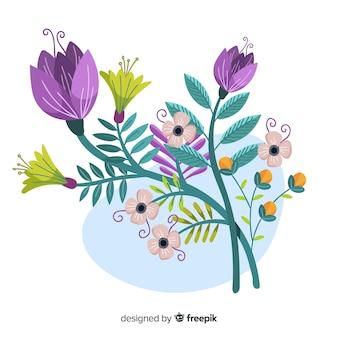 Flache bunte blumenniederlassung mit violetten blumen