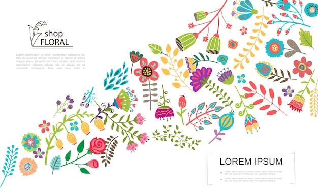 Flache bunte blumenschablone mit verschiedenen schönen sommer- und frühlingsblumenillustration