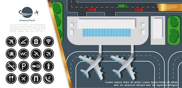 Flache bunte draufsicht des flughafens mit terminalgebäudeflugzeugen auf landebahn- und flughafenikonenillustration