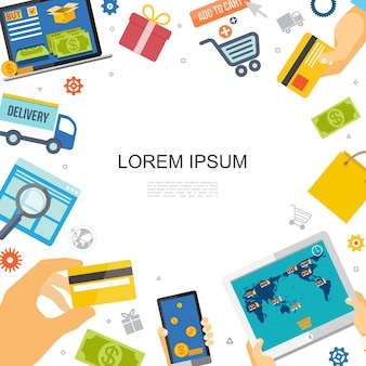 Flache bunte e-commerce-vorlage