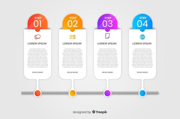 Flache bunte farbverlauf timeline infografiken