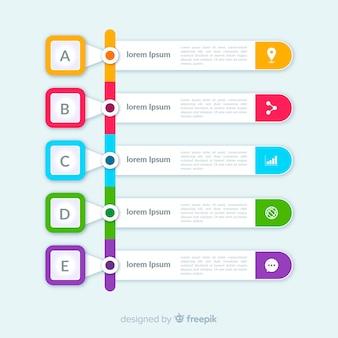 Flache bunte infografik schritte