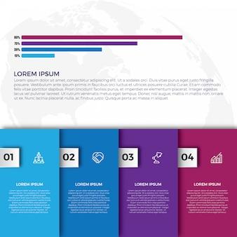 Flache bunte infografiken schritt sammlung