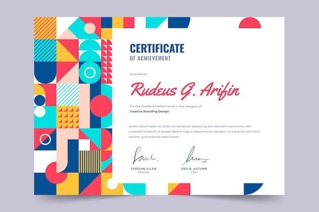 Flache bunte mosaik-zertifikatsvorlage