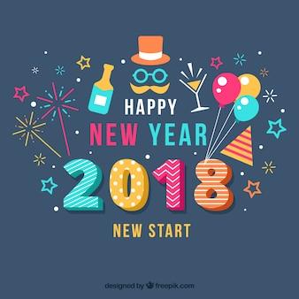 Flache bunte Neujahr Hintergrund mit Party-Elementen