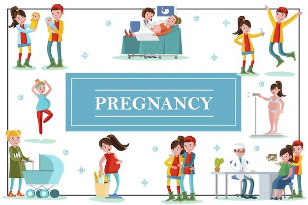 Flache bunte schwangerschaftsschablone mit glücklichen fürsorglichen vätern und schwangeren frauen in verschiedenen situationen während der schwangerschaft zur geburt des kindes