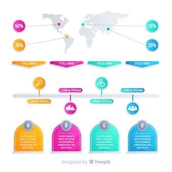 Flache bunte steigung infografiken elemente