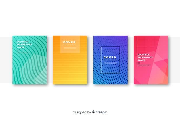 Flache bunte technologie-cover-auflistung