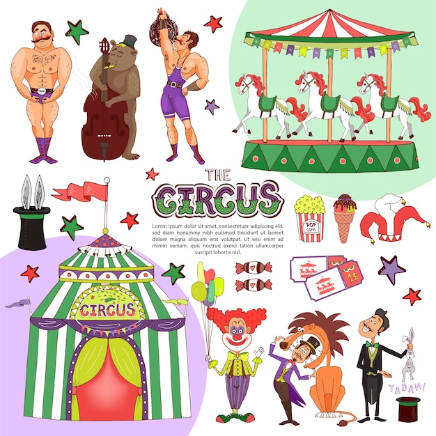 Flache bunte zirkusschablone