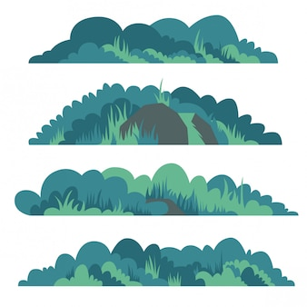 Flache buschvektor-illustrationssatz