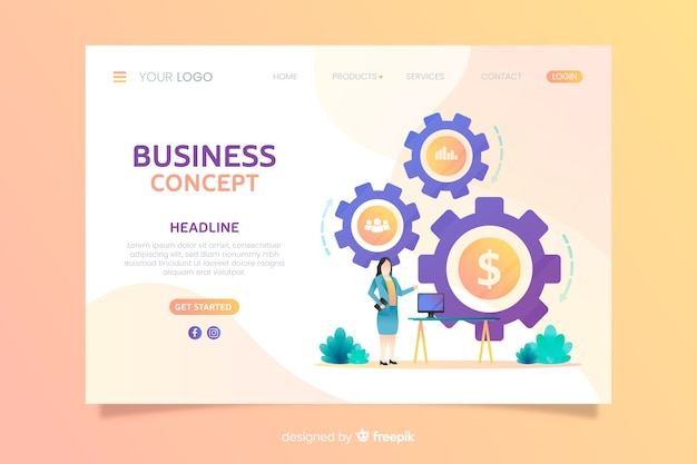 Flache business landing page vorlage