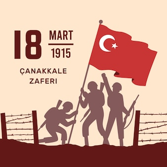 Flache canakkale-illustration mit soldaten