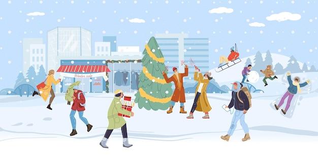 Flache cartoon-familienfiguren, die winteraktivitäten im freien machen doing