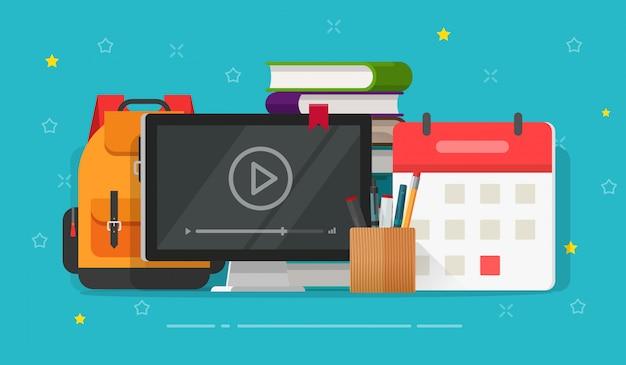 Flache cartoon online-webkurse oder videostudie mit webinar auf computerbildschirm auf tisch