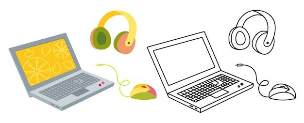 Flache cartoon-set-linie des laptop-computers