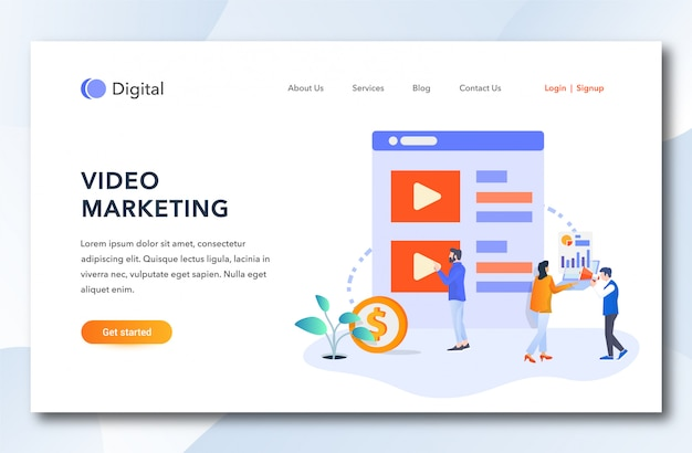 Flache cartoon-video-marketing-landing-page.