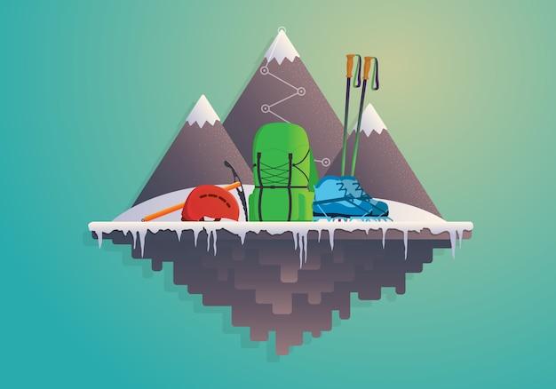 Flache cartooninsel mit kletterausrüstung.