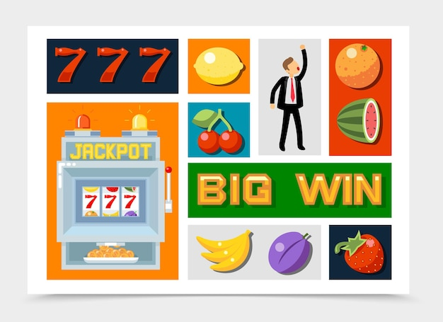 Flache casino-elementsammlung mit nummer sieben fruchtsymbolen für spielautomaten-jackpot-gewinner isoliert