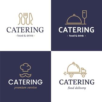 Flache catering-logo-vorlagensammlung